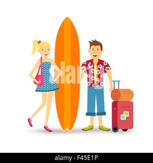 Young happy couple travel summer beach vacation with suitcase and surf board family group illustration in flat art - Stock Photo