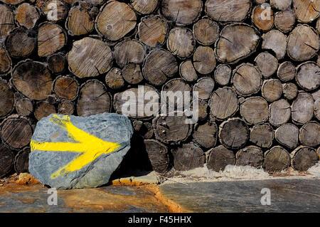 Yellow arrow marking the Way of Saint James (Camino de Santiago) in Pedrafita do Cebreiro, Galicia, Spain - Stock Photo