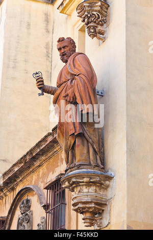 Statue on Cathedral in Seville Spain - Stock Photo