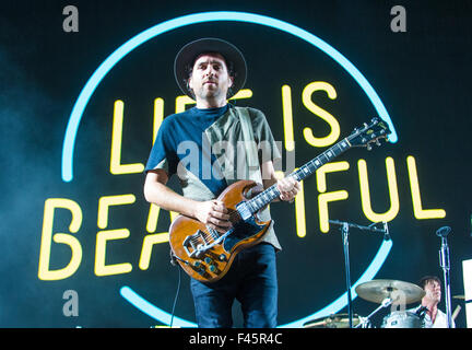 Musician James Shaw of Metric performs on stage during Life Is Beautiful Festival in Las Vegas - Stock Photo