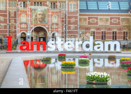 I Amsterdam slogan early in the morning - Stock Photo