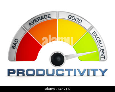 Productivity levels meter isolated on white background - Stock Photo