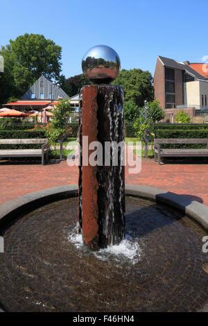 Brunnen mit Wassersaeule im Rosarium des Schlossparks in Moers, Niederrhein, Nordrhein-Westfalen - Stock Photo