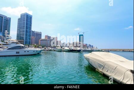 A view of the beautiful Marina in Zaitunay Bay in Beirut, Lebanon. A very modern, high end and newly developed area - Stock Photo