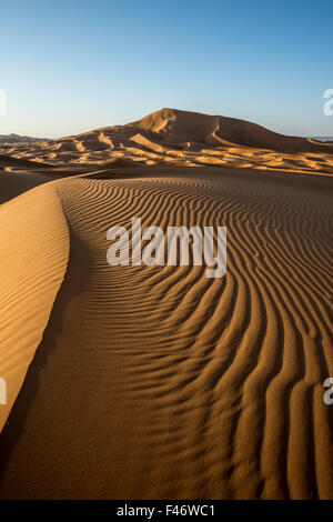 Sand dunes at Merzouga, Meknes-Tafilalet Region, Erg Chebbi, northern Sahara, Morocco - Stock Photo