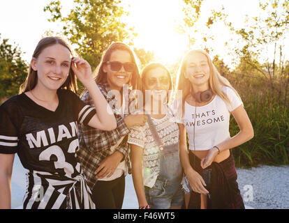 Teenage girls hanging out on a summer day, europe - Stock Photo