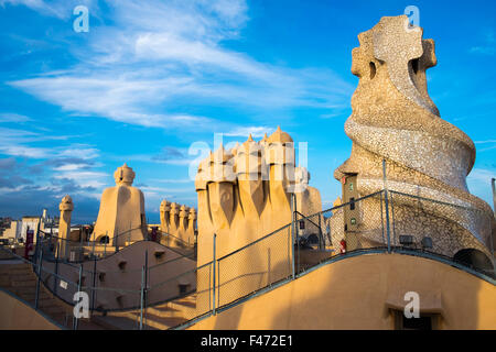Roof terrace of Casa Mila, also La Pedrera, by architect Antoni Gaudi, Barcelona, Catalonia, Spain - Stock Photo