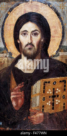 5777. The oldest known icon of Christ, 6-7th. C, St. Catharine's Monastery in Sinai. Painting on panel - Stock Photo