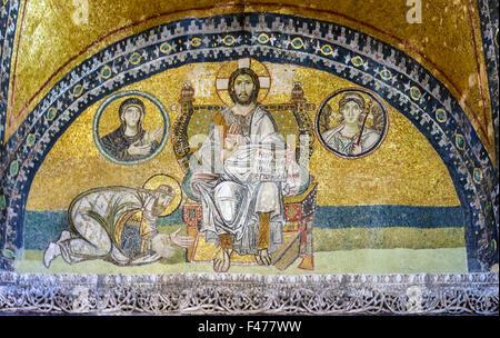 5781. Mosaic depicting Jesus Christ and Leon IV at his feet. Hagia Sophia, Istanbul - Stock Photo