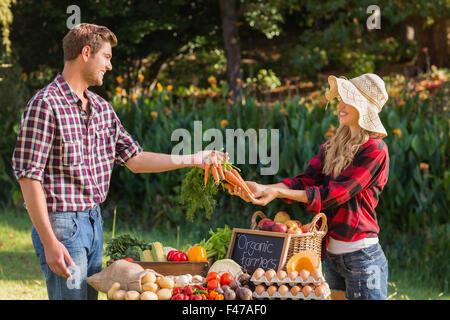 Man selling organic vegetables at market - Stock Photo