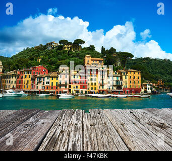 Portofino village on Ligurian coast, Italy - Stock Photo