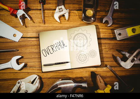 Overhaul against blueprint - Stock Photo