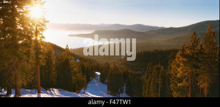 Sunset in lake tahoe ski resort - Stock Photo