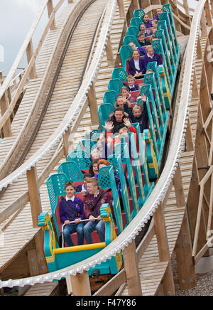 Dreamland, Margate, Kent, UK. 15th October 2015. Launch day for the Scenic wooden railway roller coaster at Dreamland - Stock Photo