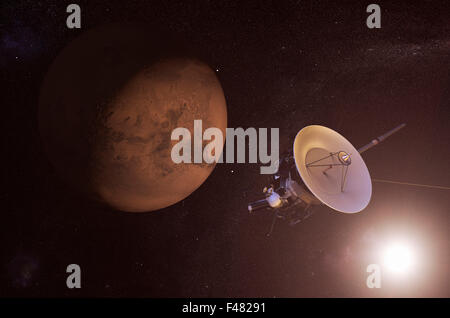 Digital illustration of an unmanned spacecraft approaching Mars - Stock Photo