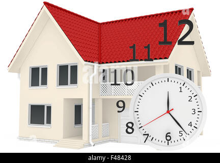 The house with red roof and clock numbers flying. Leaving time sale of real estate - Stock Photo