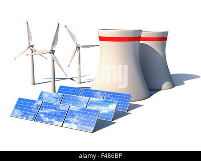 alternative energy 3d concept - Wind power station nuclear power plant and solar panels against white background - Stock Photo