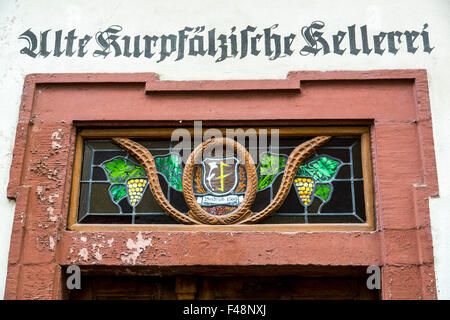 Sign above the entrance of an old winery, Bacharach, Germany, upper middle Rhine valley, - Stock Photo