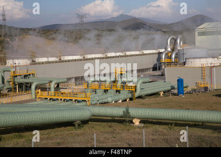 Olkaria 280MW geothermal energy plant Hell's Gate Rift Valley Kenya - Stock Photo