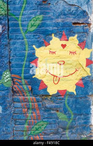 Children\'s wall art in a inner city Garden for a school project in ...
