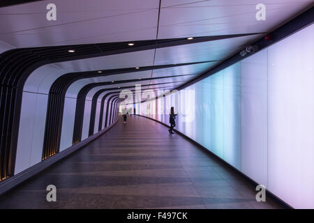 Colourful walkway St Pancras International station - Stock Photo