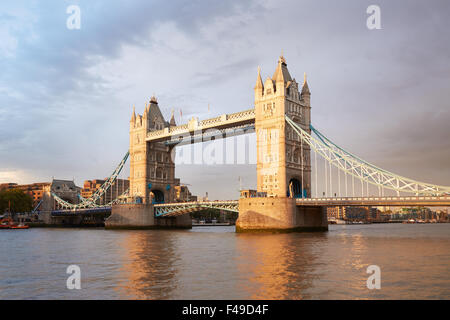 Tower bridge in London in the afternoon sunlight - Stock Photo
