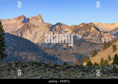 Sierra Nevada Sawtooth Ridge near Bridgeport, CA and Twin Lakes Campground - Stock Photo