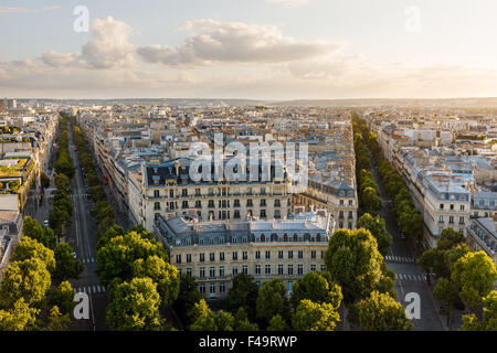 Aerial view of the 16th arrondissement in Paris, France. View of Haussmannian style buildings and rooftops late - Stock Photo