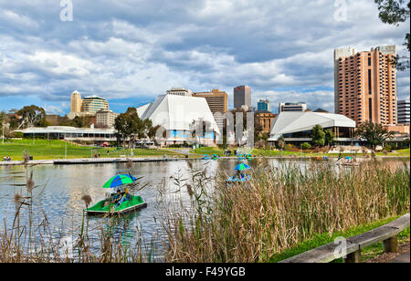 Australia, South Australia, Adelaide, Adelaide Festival Centre and River Torrens - Stock Photo