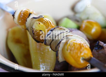 skewers of vegetables - Stock Photo