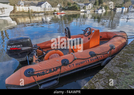 Inflatable Boat River Thames Oxfordshire - Stock Photo