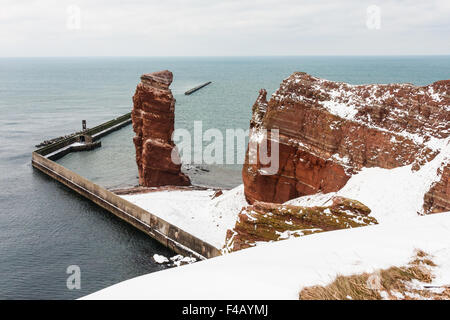 Lange Anna in Winter, Helgoland, Germany - Stock Photo