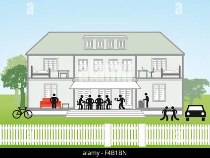 Family house cross-section - Stock Photo