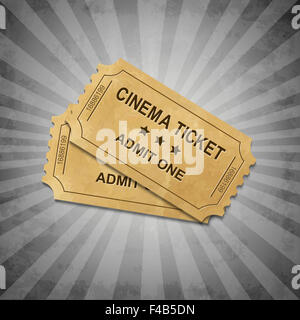 Grey Grungy Background With Tickets - Stock Photo
