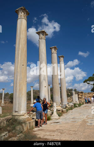 Vertical view of tourists inspecting Corinthian Columns at the ancient Roman site of Salamis, Famagusta  Northern - Stock Photo