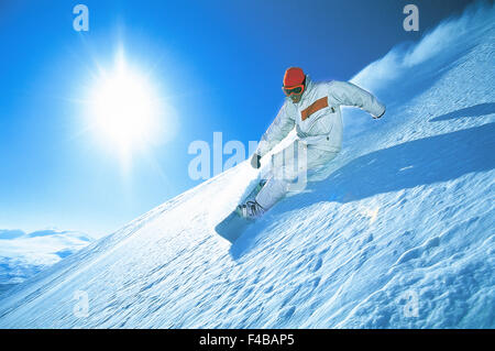 Abisko activity blue catalogue 2 clear sky color image downhill skiing horizontal Lapland leisure lifestyle loose - Stock Photo