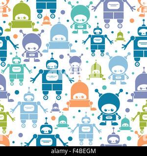 Cute colorful cartoon robots seamless pattern background - Stock Photo