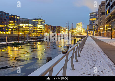 Winter night in the Hafencity - Stock Photo