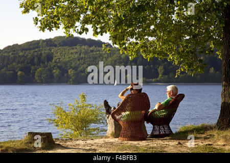People at the reservoir Moehnesee, Germany. - Stock Photo
