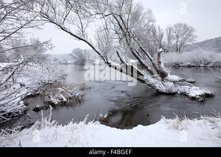 The river Ruhr in winter, weather, Germany. - Stock Photo