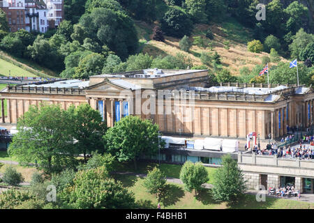 Scottish National Gallery as seen from the Scott Monument. - Stock Photo
