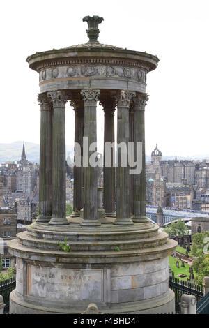 The Dugald Stewart Monument on Calton Hill in Edinburgh, Scotland. - Stock Photo