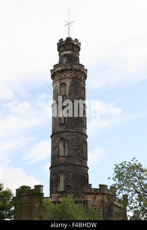 The Nelson Monument on Calton Hill in Edinburgh, Scotland. - Stock Photo
