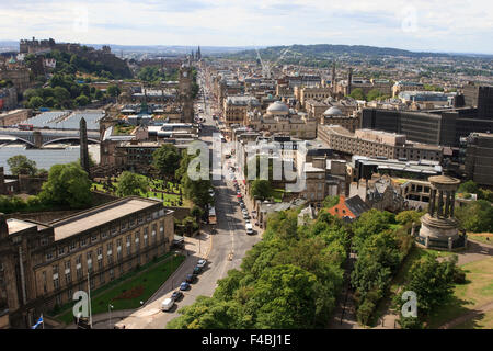 View from the Nelson Monument in Edinburgh, Scotland, looking down Princes Street. - Stock Photo