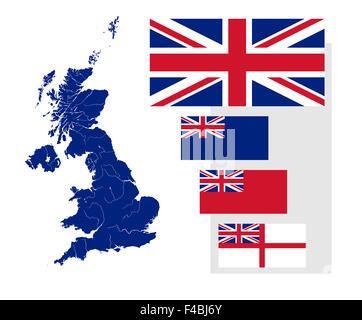 Map of the United Kingdom with rivers and four British flags - national flag, state ensign, civil ensign and naval - Stock Photo