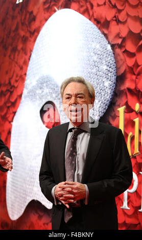 Hamburg, Germany. 15th Oct, 2015. Composer Andrew Lloyd Webber arrives at the Stage Operettenhaus for the premiere - Stock Photo
