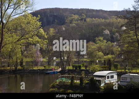 The Ruhr valley in spring, Witten, Germany - Stock Photo