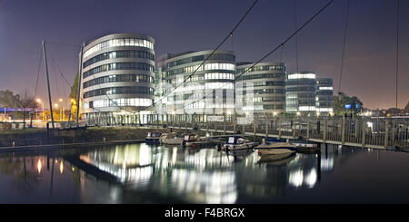 Five Boats, Duisburg Inner Harbour, Germany - Stock Photo