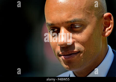 Chuka Umunna MP (Labour, Streatham) interviewed on College Green after the May 2015 State Opening of Parliament. - Stock Photo