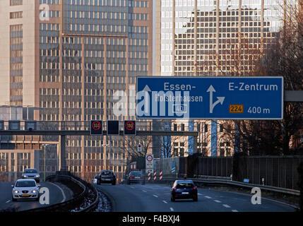 A 40 Motorway with Skyline, Essen, Germany - Stock Photo